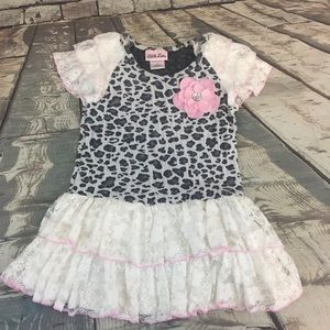 Little Lass White Lace with Pink Flower Dress Sz 6